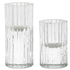 2 Piece Ribb Taper Candle Holder Set