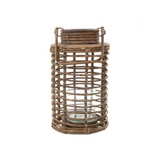 Wood & Glass Natural Cylindrical Open Lantern