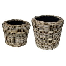 Round Natural Rattan Baskets (Set of 2)