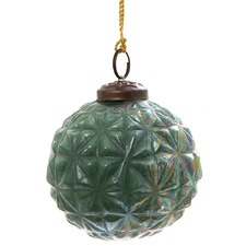 Green Cosmic Vintage Style Glass Bauble (Set of 8)