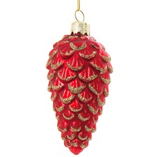 Red Glass Pine Cone Ornament (Set of 12)
