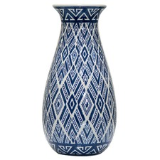 Blue Aztec Teardrop Porcelain Vase