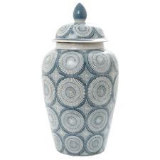 Blue & White Joss Ceramic Jar