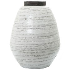 White & Grey Shaka Ceramic Urn