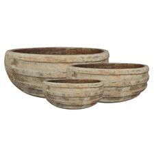 3 Piece Tuscan Shallow Terracotta Planter Set