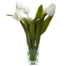 50cm White Tall Faux Tulips with Glass Vase