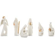 6 Piece White & Gold Nativity Scene Set