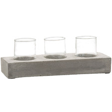 Turin 3 Slot Rectangular Concrete Tealight Holder