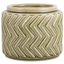 Olive Green Aztec Ceramic Plant Pot