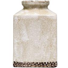 Distressed Blanc Square Ceramic Vase
