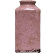 Tall Distressed Pink Rosa Tall Square Vase