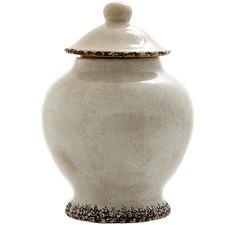 Distressed White Blanc Ceramic Jar