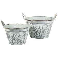 2 Piece Belle Metal Decorative Bucket Set