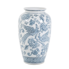 Blue & White Aviary Porcelain Vase