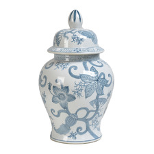 Blue & White Pod Vine Porcelain Decorative Jar