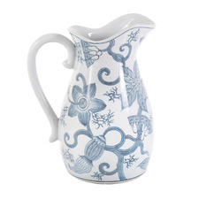 Blue & White Pod Vine Porcelain Decorative Jug