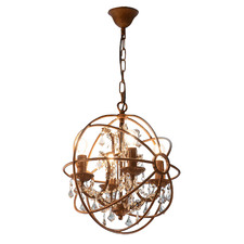 Small Rust Sundance Metal & Chinese Crystal Chandelier