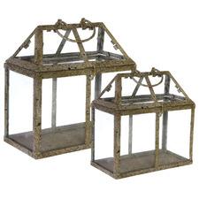 2 Piece Rust Metal Terrarium Set