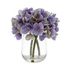 18cm Faux Purple Hydrangea in Glass Vase