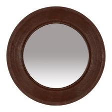 Bowie Round Faux Leather Wall Mirror