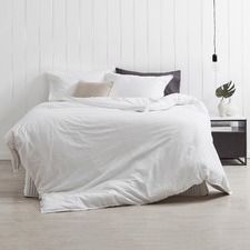 White Frayed Edge Linen-Blend Quilt Cover Set