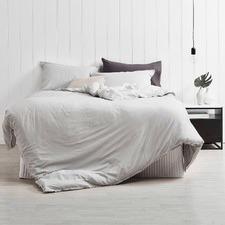 Dove Grey Frayed Edge Linen Cotton Quilt Cover Set