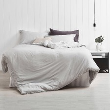 Dove Grey Frayed Edge Linen-Blend Quilt Cover Set