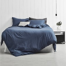Indigo Frayed Edge Linen-Blend Quilt Cover Set