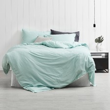 Duckegg Blue Frayed Edge Linen Cotton Quilt Cover Set