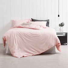 Blush Frayed Edge Linen Cotton Quilt Cover Set
