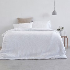 White Waffle Linen Cotton Quilt Cover Set