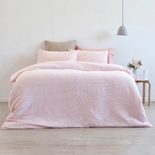 Blush Jumbo Waffle Linen Cotton Quilt Cover Set