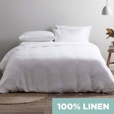 White Vintage Wash Pure Linen Quilt Cover Set