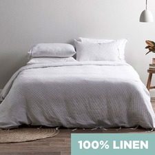 Light Grey Yarn Dyed Stripe Pure Linen Quilt Cover Set