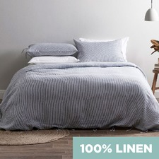 Mid Grey Yarn Dyed Stripe Pure Linen Quilt Cover Set