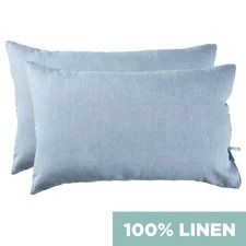 Set of 2 Blue Vintage Wash Standard Pure Linen Pillowcases