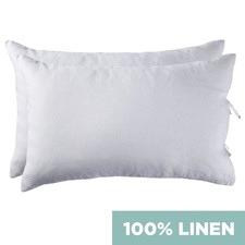 White Vintage Wash Standard Pure Linen Pillowcases (Set of 2)