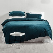 Ink Blue Cotton Velvet Quilt Cover Set