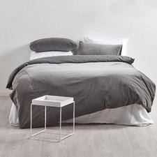 Storm Grey Cotton Velvet Quilt Cover Set