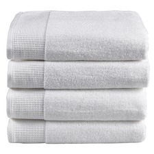 4 Piece White Plush Bathroom Towel Set