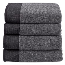 4 Piece Charcoal Marle Plush Bathroom Towel Set