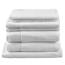 7 Piece White Plush Bathroom Towel Set