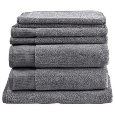 7 Grey Piece Plush Bathroom Towel Set