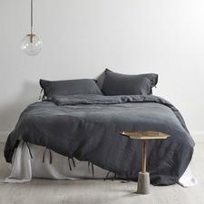 Charcoal Linen Quilt Cover Set