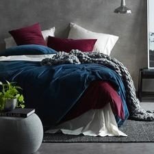 Ink Blue Cotton Velvet Quilt Cover Set
