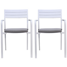 White Blane Aluminium Outdoor Dining Chairs (Set of 2)