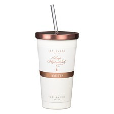 480ml White Tumbler & Straw