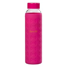 Hot Pink Glass Water Bottle with Silicon Sleeve
