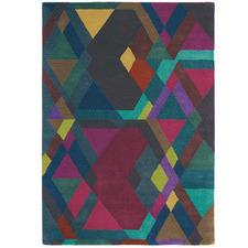 Multi Coloured Mosaic Hand-Tufted Wool Rug