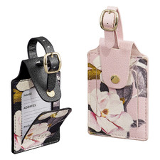 2 Piece Floral Faux Leather Luggage Tag Set